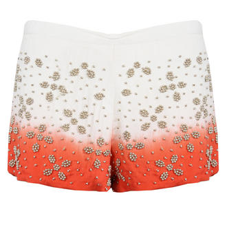 View Item Cream and Orange Dip Dye Embellished Shorts